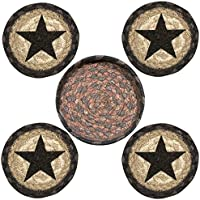 Earth Rugs 29-CB099BS Star Design Round Jute Basket with 4-Printed Coasters, 5, Black