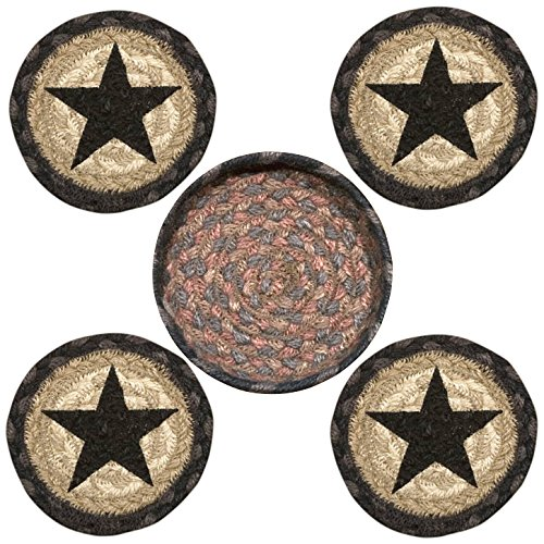 """Earth Rugs 29-CB099BS Star Design Round Jute Basket with 4-Printed Coasters, 5"""", Black"""