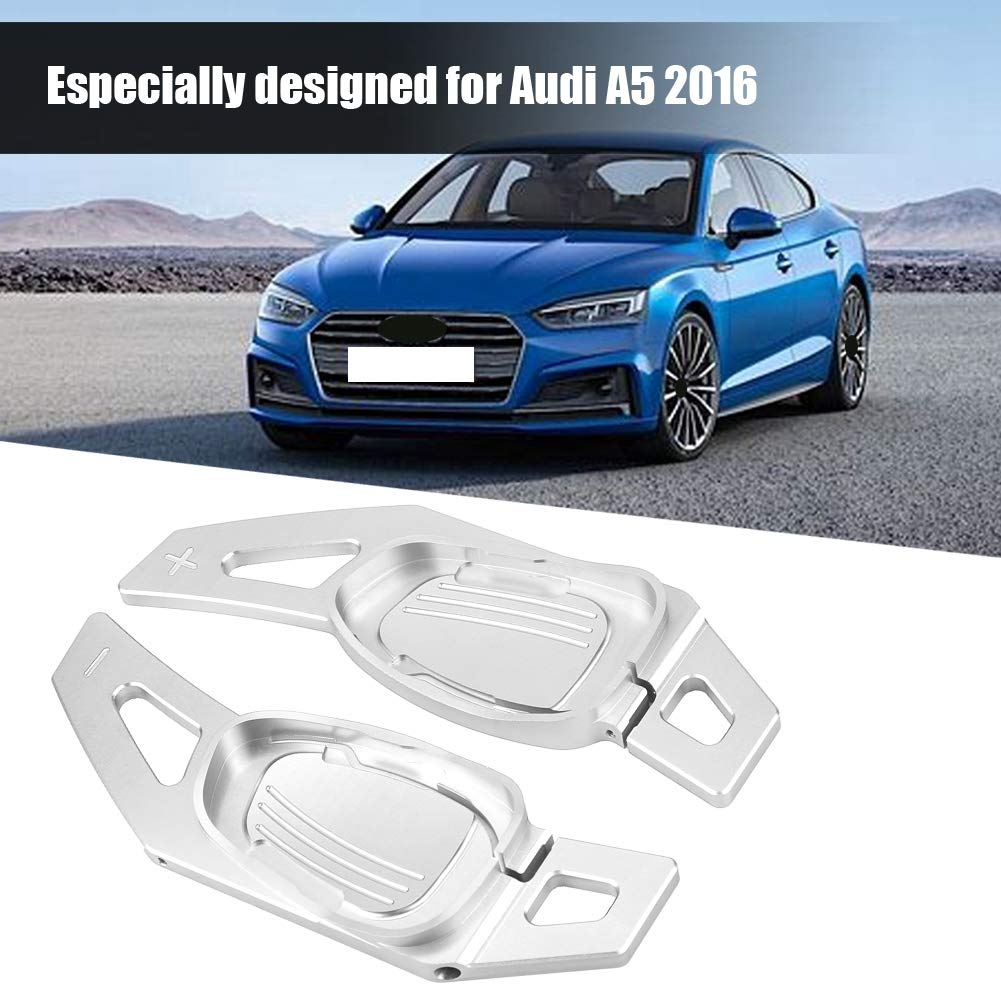 Car Steering Wheel Shift Paddle Shifter Aluminum Decoration Decal Frame Cover Shifters Paddles Sticker Suitable for Left Driving for A5 S3 S5 S6 SQ5 RS3 RS6 RS7 Silver