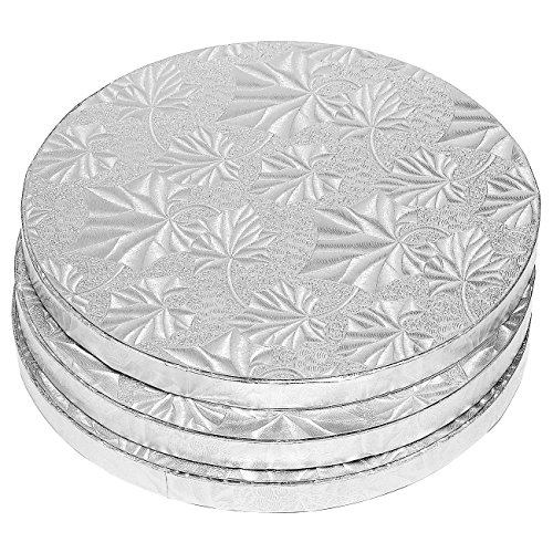 Round Silver Cake Base (Cake Boards Rounds - 3 Piece Silver Foil Pizza Base Disposable Cake Drums, Corrugated Paper Board, FDA approved, 8 Inches in Diameter)