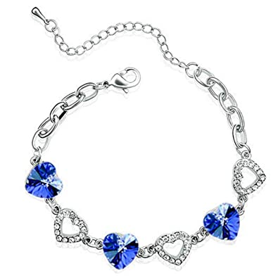 KUNEN Swarovski Elements Fashion Blue Heart Crystal Silver Bracelet with Elegant Sapphire,for women's gift E84oxTv