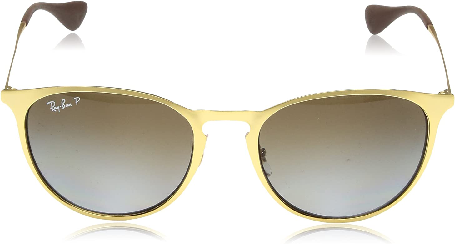 Erika Metal Polarized Round Sunglasses, MATTE GOLD, 54 mm