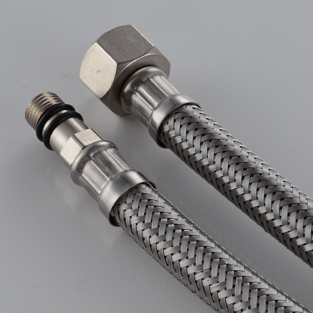 20 Length Faucet Hose,x 2 Pcs 1 Pair Wovier Faucet Connector Vessel Sink Faucet Braided Stainless Steel 3//8 Female Compression Thread x 1//2 I.P Female Straight Thread