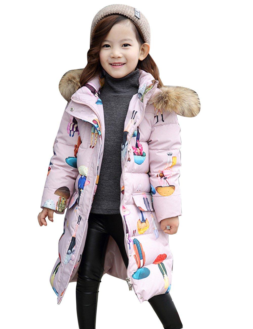Menschwear Girl's Down Fur Hooded Jacket Winter Warm Outwear Winter Coat (150,Pink)