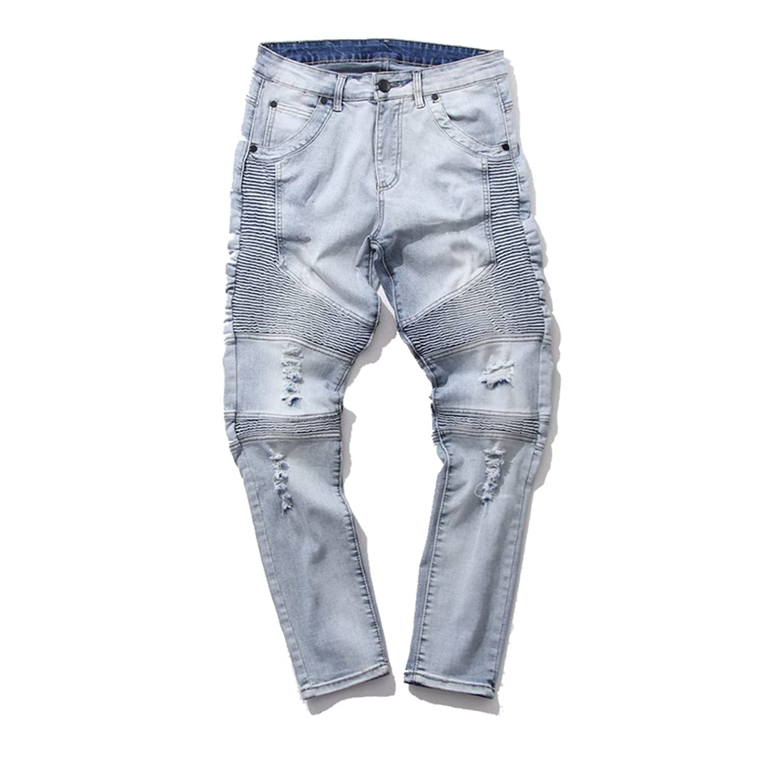 Feinste Men&39s Slim Fit Distressed Denim Biker Jeans at Amazon
