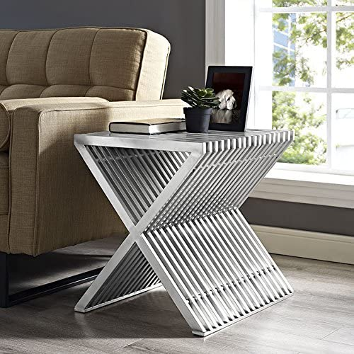Modway Press Contemporary Modern Stainless Steel Accent Side End Table In Silver