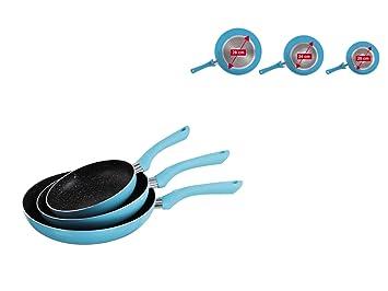 Juego de 3 sartenes para inducción, sartenes de 28 cm, 24 cm y 20 cm (sartén, aluminio, antiadherente, aptas para inducción, azul): Amazon.es: Hogar
