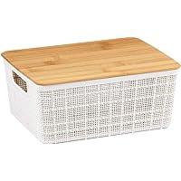 Caixa Organizadora Com Tampa de Bambu 4L - OIKOS, Branco