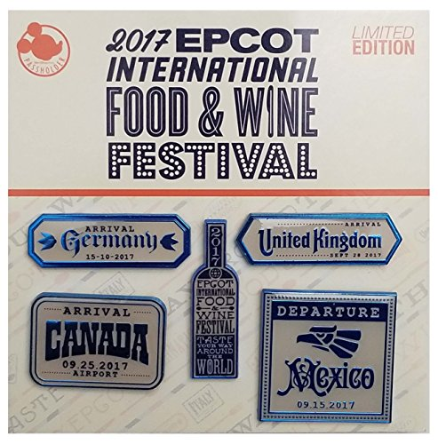 WDW Trading Pin - Epcot International Food & Wine Festival 2017 - Annual Passholder - Wine Label Five Pin Set