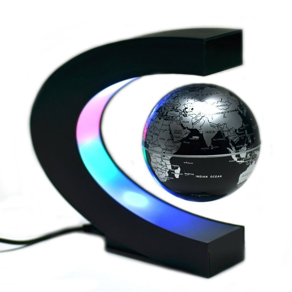 Aenmil Magnetic Globe C Shape Magnetic Levitation Floating Globe World Map Rubber Oil Coated and Metal Material with LED Light for Work Desk, Side Table, School Room or Room Decoration (Black)
