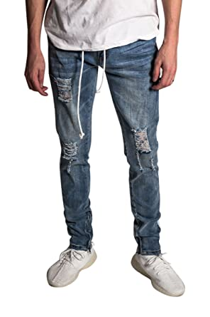 aa94937a6fc KDNK Men's Tapered Skinny Fit Stretch Denim Zip Fly Ripped Ankle Zip Track  Jeans at Amazon Men's Clothing store: