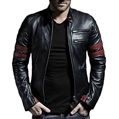 V4M Men's Red Stripe Genuine Real Leather Jacket: Amazon.in ...