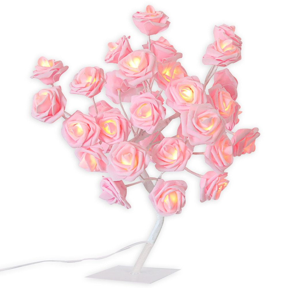 Glumes 24 LED Pink Rose Tree |Bright Warm Rose Flower Lamp|Fairy Light| 24LED| Indoor Outdoor Decoration for Christmas Party Wedding Holiday Birthday Garden Patio Bedroom|American Warehouse Shipment (pink)
