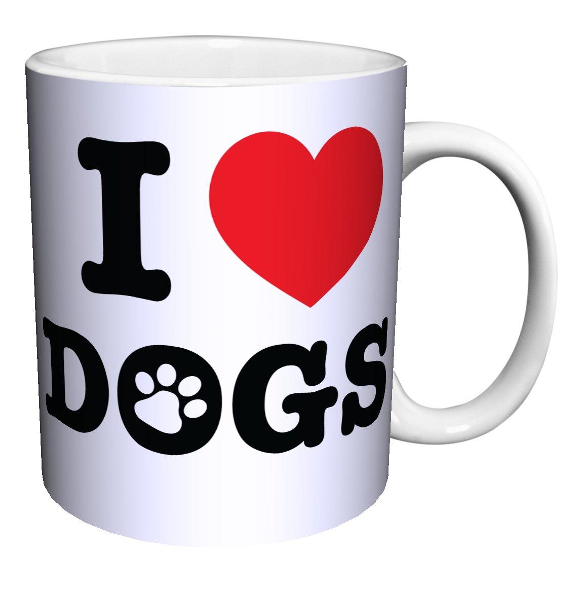 I Heart Dogs Novelty Animal Lover Pet Quote Decorative Ceramic Gift Coffee (Tea, Cocoa) 11 Oz. Mug
