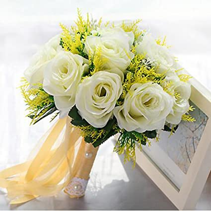 Amazon.com: Flores coreano novia Holding flor cinta, flores ...