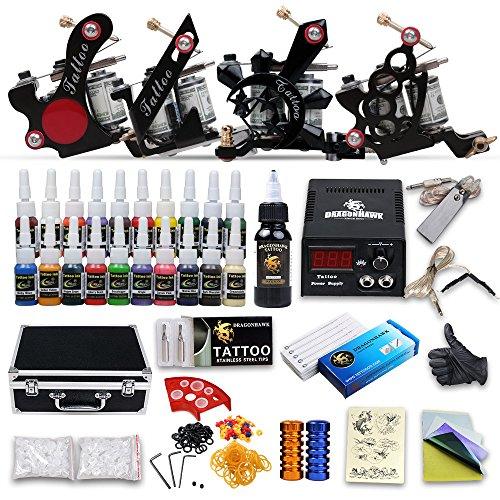 DragonHawk Complete Tattoo Kit 4 Tattoo Machines Guns Kit Tattoo ...