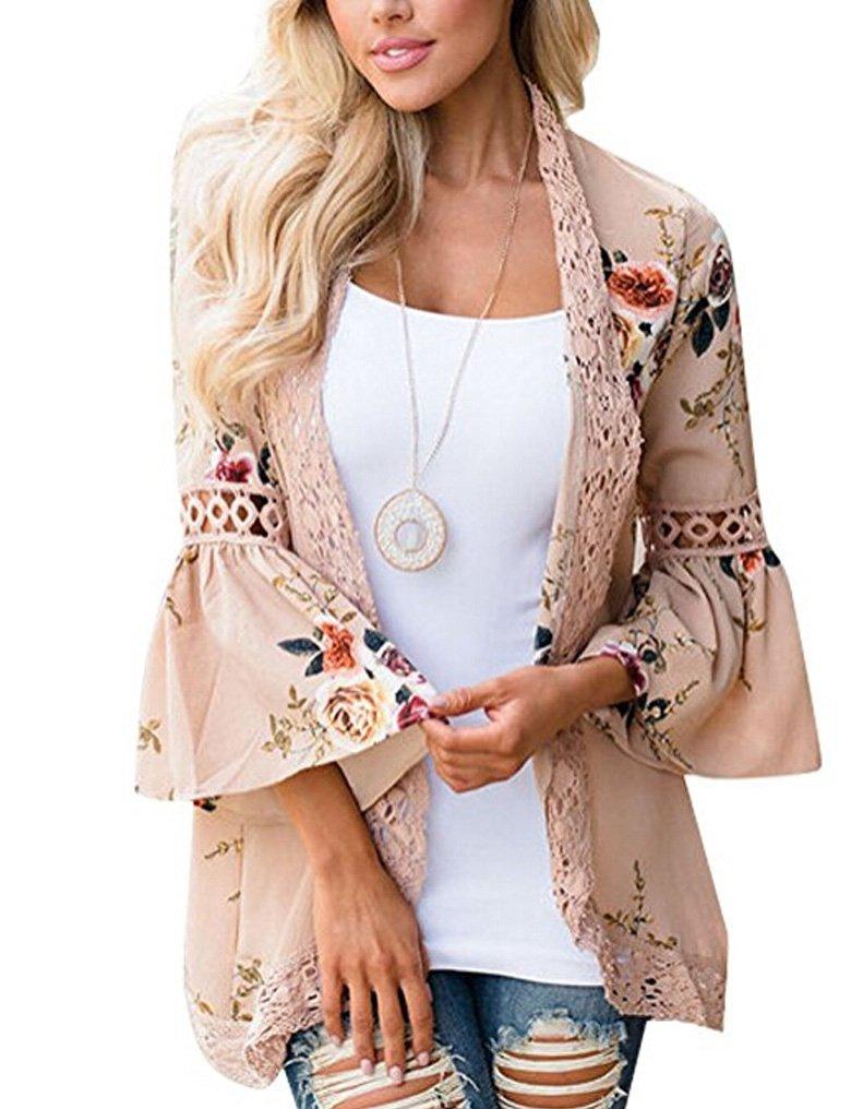 Women Bell Sleeve Flower Printed Cardigan Kimono Beach Cover up Blouse Khaki,XL