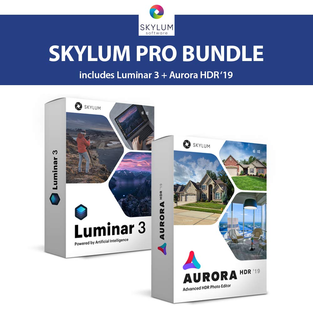 Skylum Pro Bundle - Luminar 3 and Aurora HDR 2019 AI Powered Professional Image Editing Software Bundle | For Windows or Mac | Photo Enhancing & HDR Program by Skylum