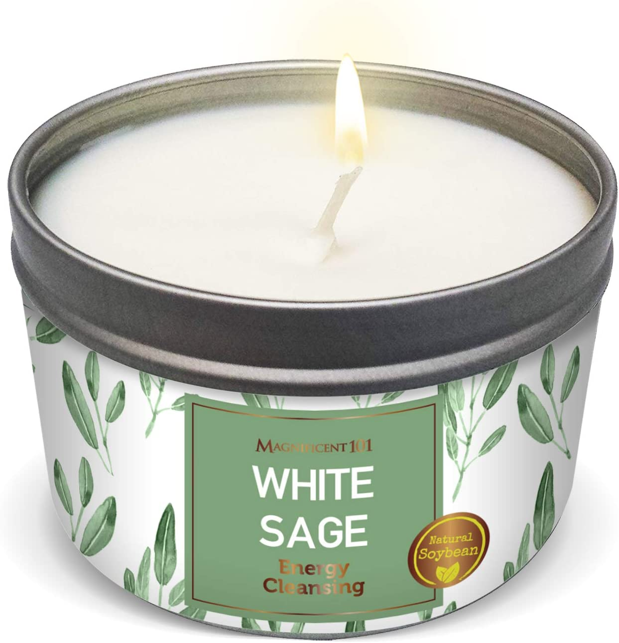 MAGNIFICENT101 New Style Pure White Sage Smudge Candle for House Energy Cleansing, Banishes Negative Energy I Purification and Chakra Healing - Natural Soy Wax Tin Candle (Pure White Sage, 6 oz)