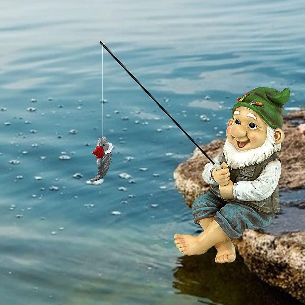 Fishing Gnome Sitter Statue, Fishing Gnome Garden Statue, Resin Garden Gnome Statue, Funny Outdoor Lawn Garden Gnome Statue Decoration