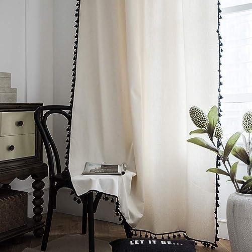 ColorBird Solid Color Semi-Blackout Window Curtains 2 Panels Boho Style Cotton Linen Darkening Curtains