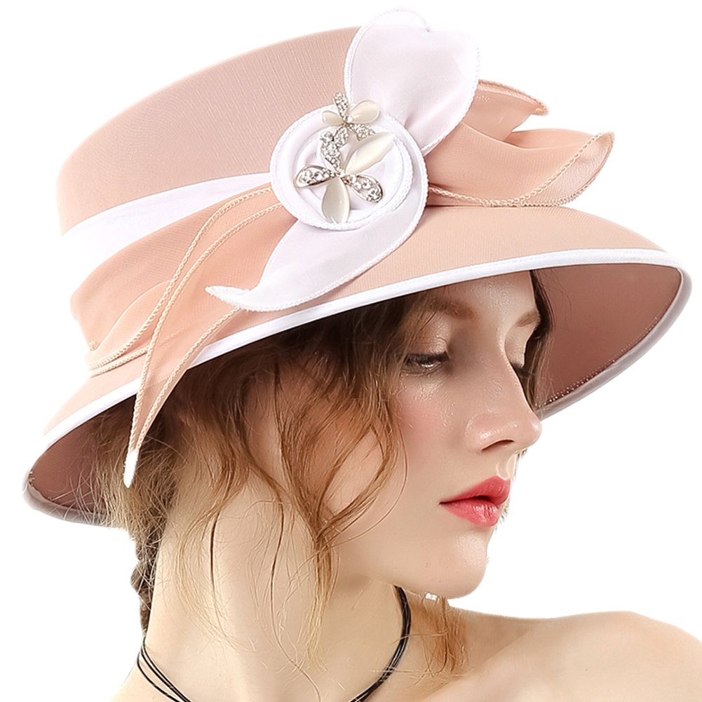 June's Young Women Hat Formal Dress Hat Chiffon Fabric Feather Two Tone Colors (Brown)