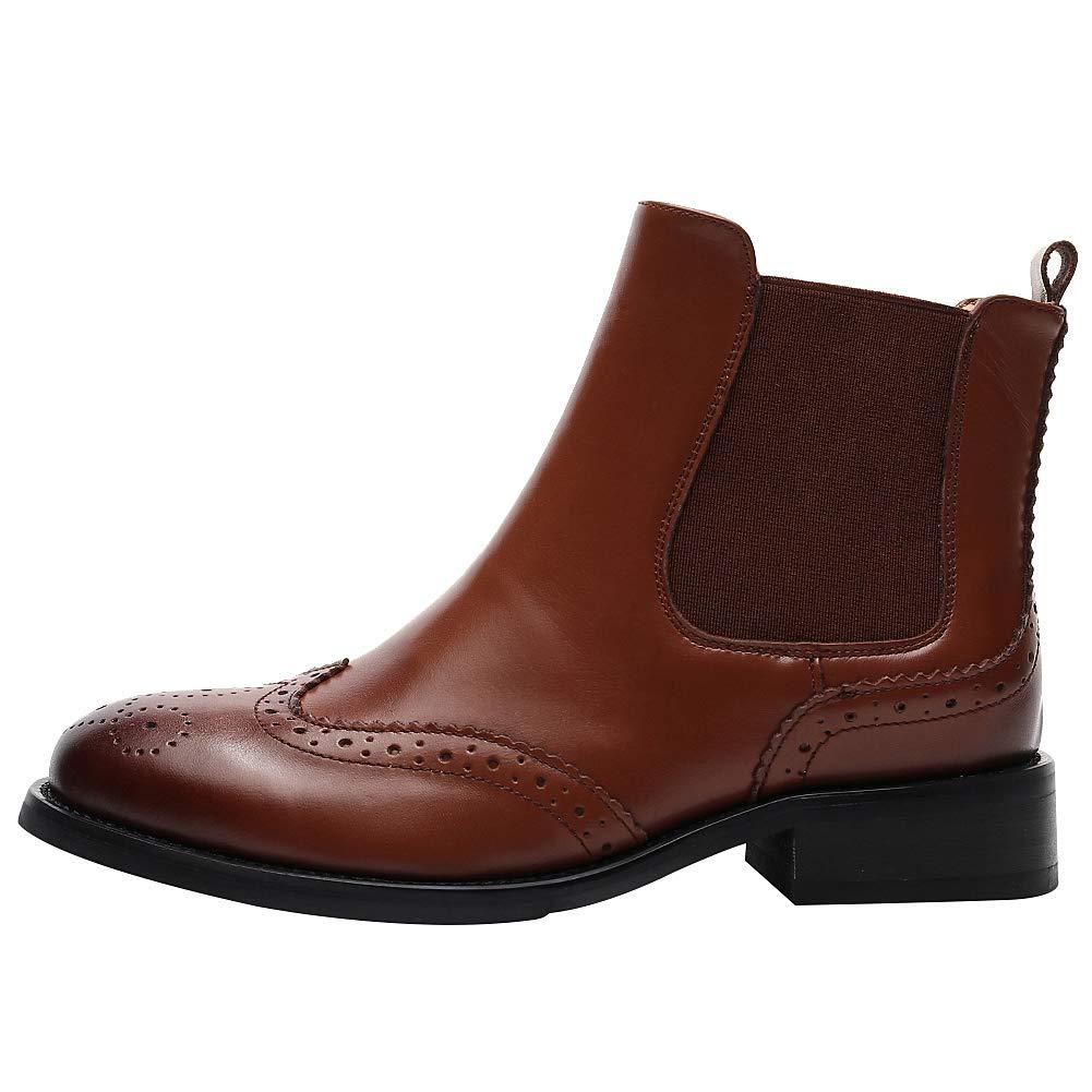rismart Mujer Correas Wingtips Tobillo Alto Comodas Cuero Botines Botas Chelsea: Amazon.es: Zapatos y complementos