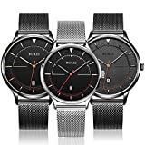 BUREI Unisex Cool Minimalist Quartz Watches with Large Black Face Calendar Mineral Crystal Black Mesh Band