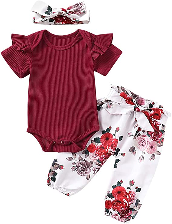 3PCS Baby Girl Clothes Ruffle Short Sleeve Cotton Knitted Romper Bodysuit Tops Floral Harem Pants Headband Set
