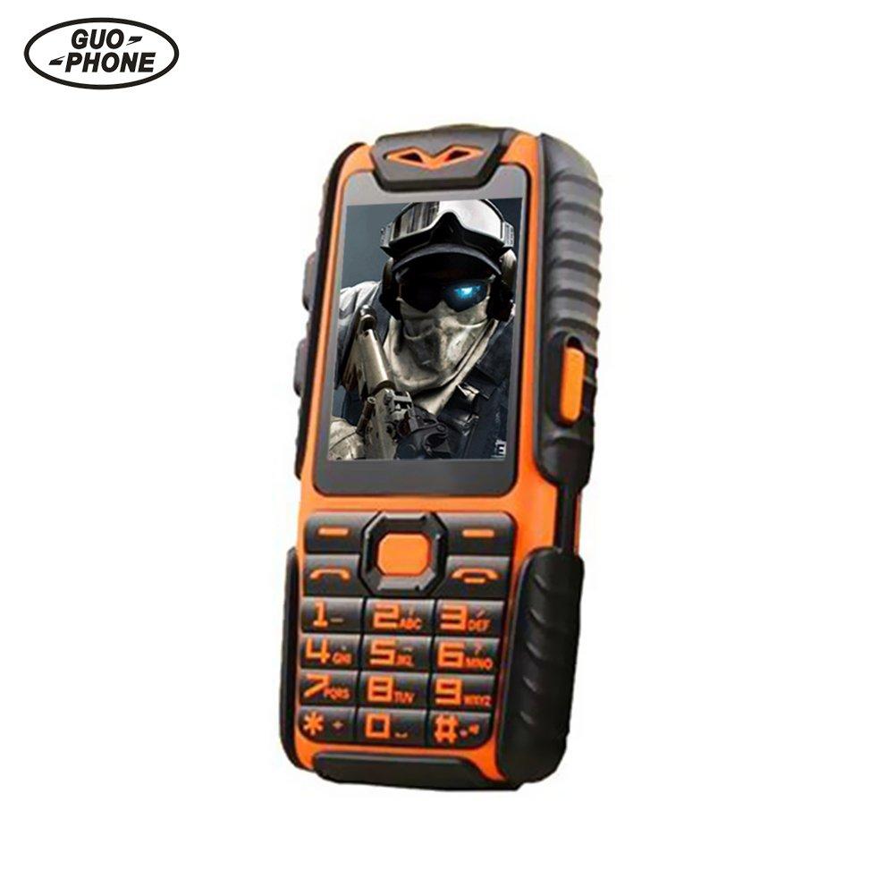 """Guophone A6 teléfono móvil portátil pantalla de 2.4 """"con teclas grandes RAM 32MB + ROM 32MB batería 9800mAh linterna Bluetooth a prueba de golpes impermeable larga espera fuente regalo para ancianos (Negro) feiledi Trade"""
