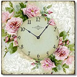 Fairy Freckles Studios Item C6120 Vintage Style Romantic Shabby Roses Clock