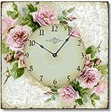 Item C6120 Vintage Style Romantic Shabby Roses Clock
