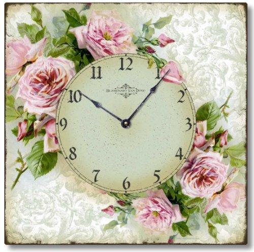 Fairy Freckles Studios Item C6120 Vintage Style Romantic Shabby Roses Clock