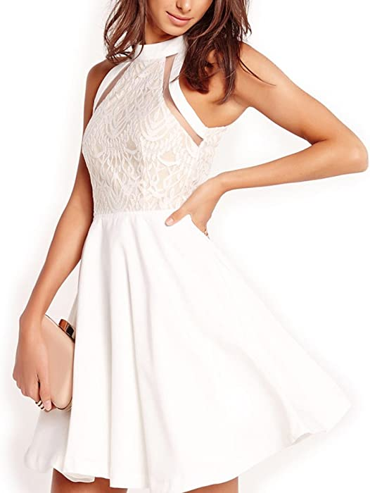 Dreaweet Women s Mesh Vintage Floral Lace Swing Halter Neck Sleeveless Skater  Dress 061ff8da1