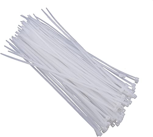 "16"" White Nylon Cable Tie Zip Heavy Duty Plastic Wire Pack of 100pcs"