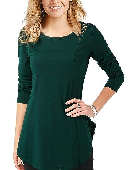 7dcd2220c400c Amazon.com  Dresswel Womens Solid Color Long Sleeve Cut Out Criss Cross Cold  Shoulder Trim Asymmetric Hem Tunic Shirts Blouses  Clothing