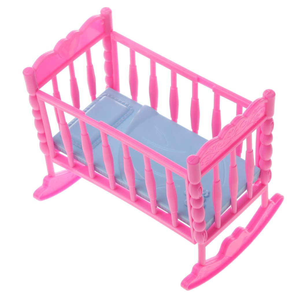 Dovewill Dolls Pink Baby Rocking Nursery Cradle Bed Bedroom FOR Barbie Dolls Dollhouse Furniture Accessory