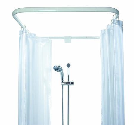 Spirella Ova Cabine Cubicle Enclosure Aluminium Shower Curtain Rail Size 70 Cm X 80