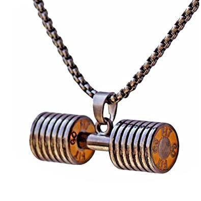 gold product dumbbell double plated plate necklace