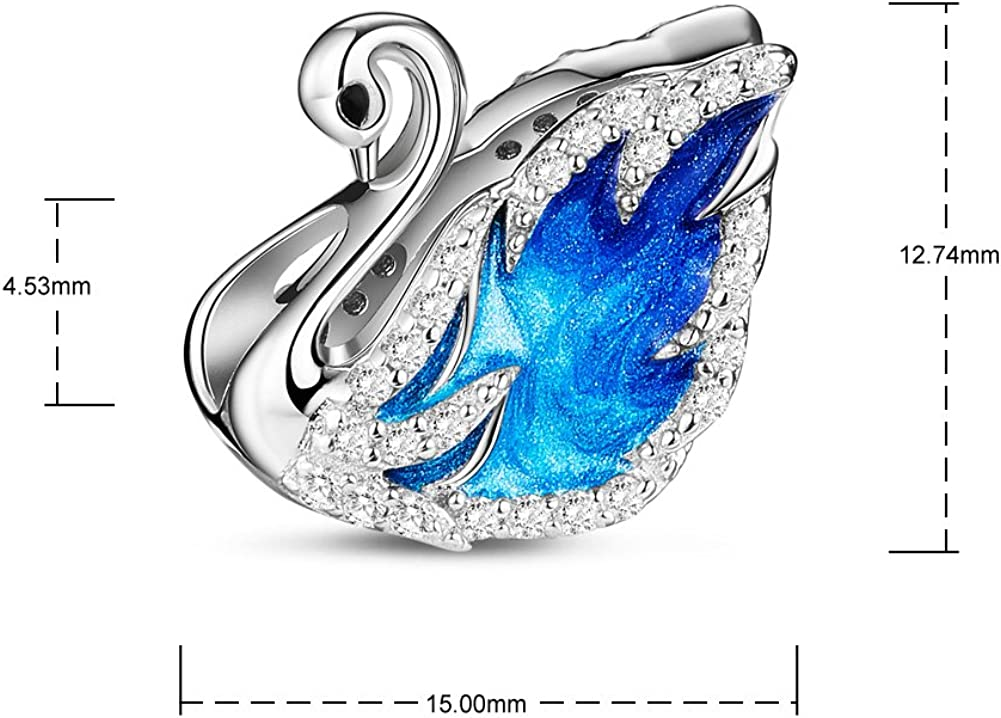 TINYSAND 925 Sterling Silver Swan Princess Lake Blue Enamel Hand-Made Charms Paved Cubic Zirconia Fit European Charms Bracelet