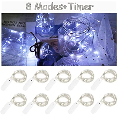10 Pack 8 Modes Fairy Lights Battery Operated 6.6ft 20 Led Mini String Lights Silver Wire Starry Lights for DIY Wedding Party Festival Halloween Christmas (Cool White) : Garden & Outdoor