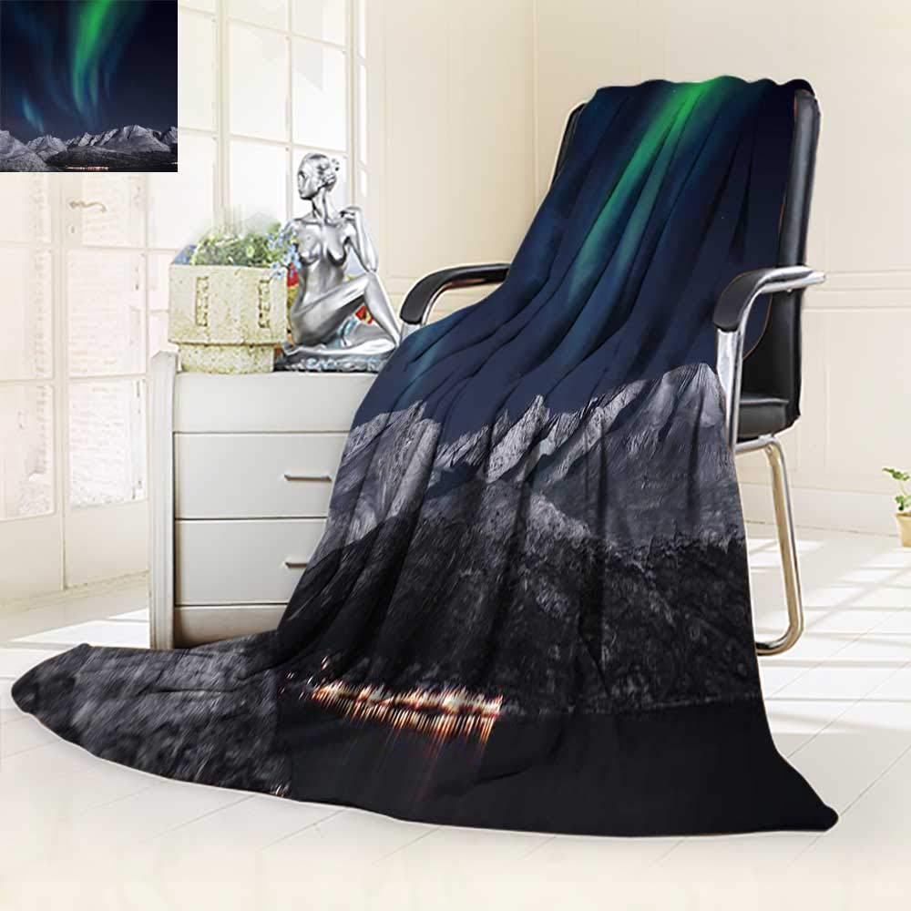 YOYI-HOME All Season Super Soft Cozy Duplex Printed Blanket ed Throw with Sky Northern Lights Aurora Over Fjords Mountain atNight Norway Solar Image Green from for Gift Blankets/47 W by 59'' H