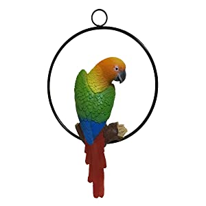 Fafajoy Hanging Parrot Statue Sculpture On Ring Lawn Ideal Decor for Patio Home and Garden