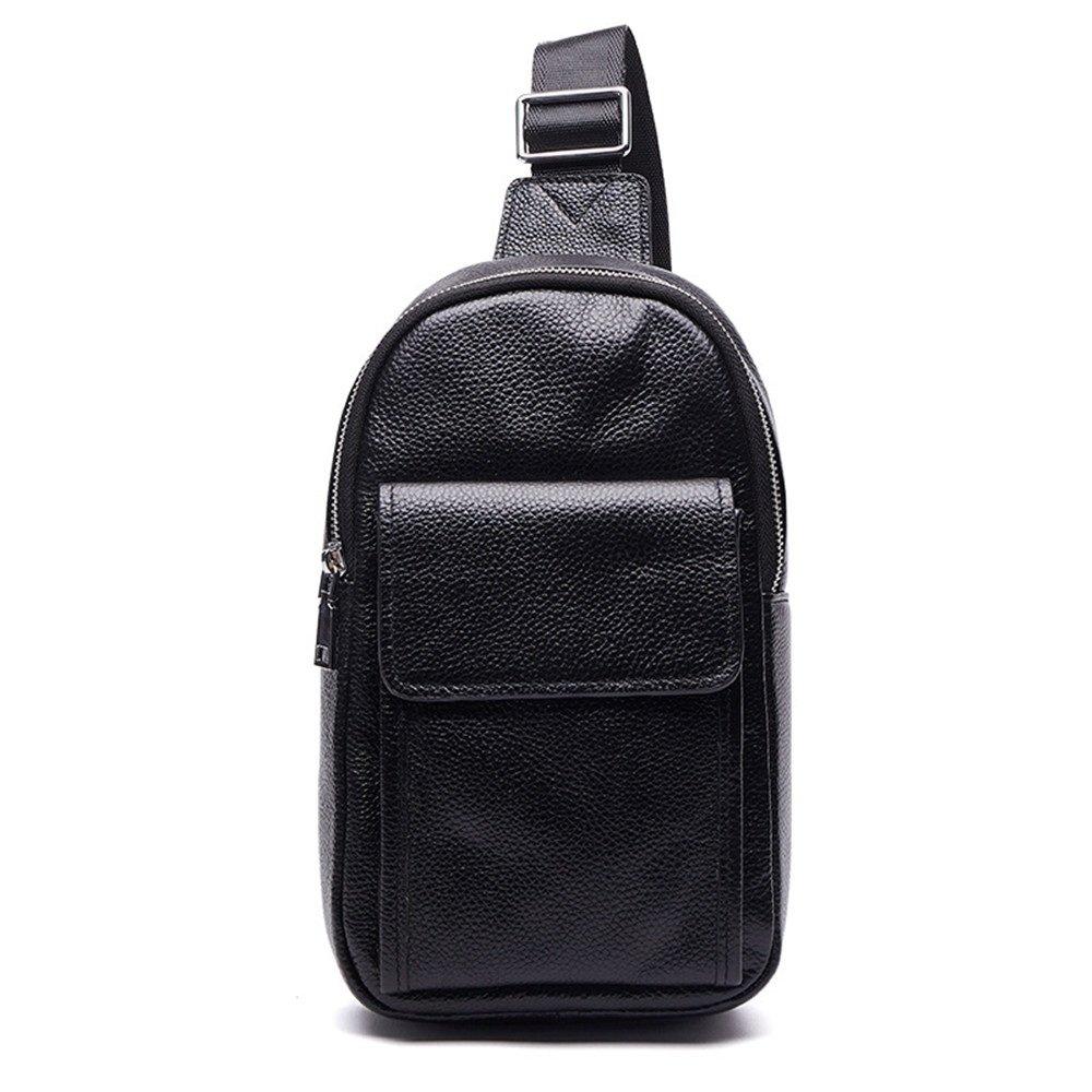 Ybriefbag Outdoor Sports Genuine Leather Crossbody Shoulder Sling Bags Casual Daypack for Men Business Casual Sport Hiking Travel Black Sling Bag Crossbody Backpack for Women Men