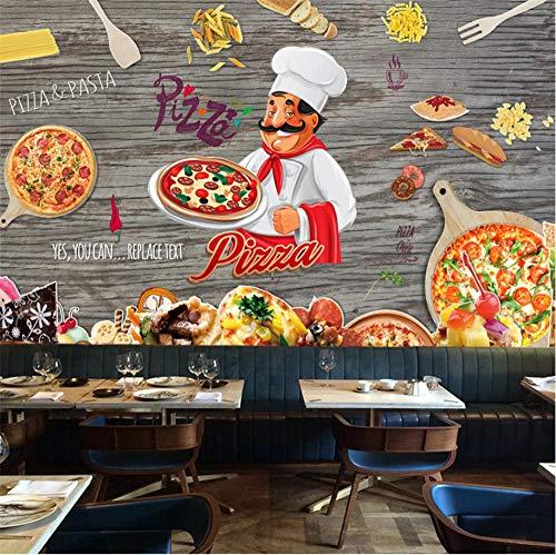 (Sdefw Wall Stickers & Murals Custom Retro Woodgrain Pizza Theme Wall Paper 3D Cartoon Hand Painted Pizza Fast Food Restaurant Background Mural Wallpaper 3D 350X245Cm)