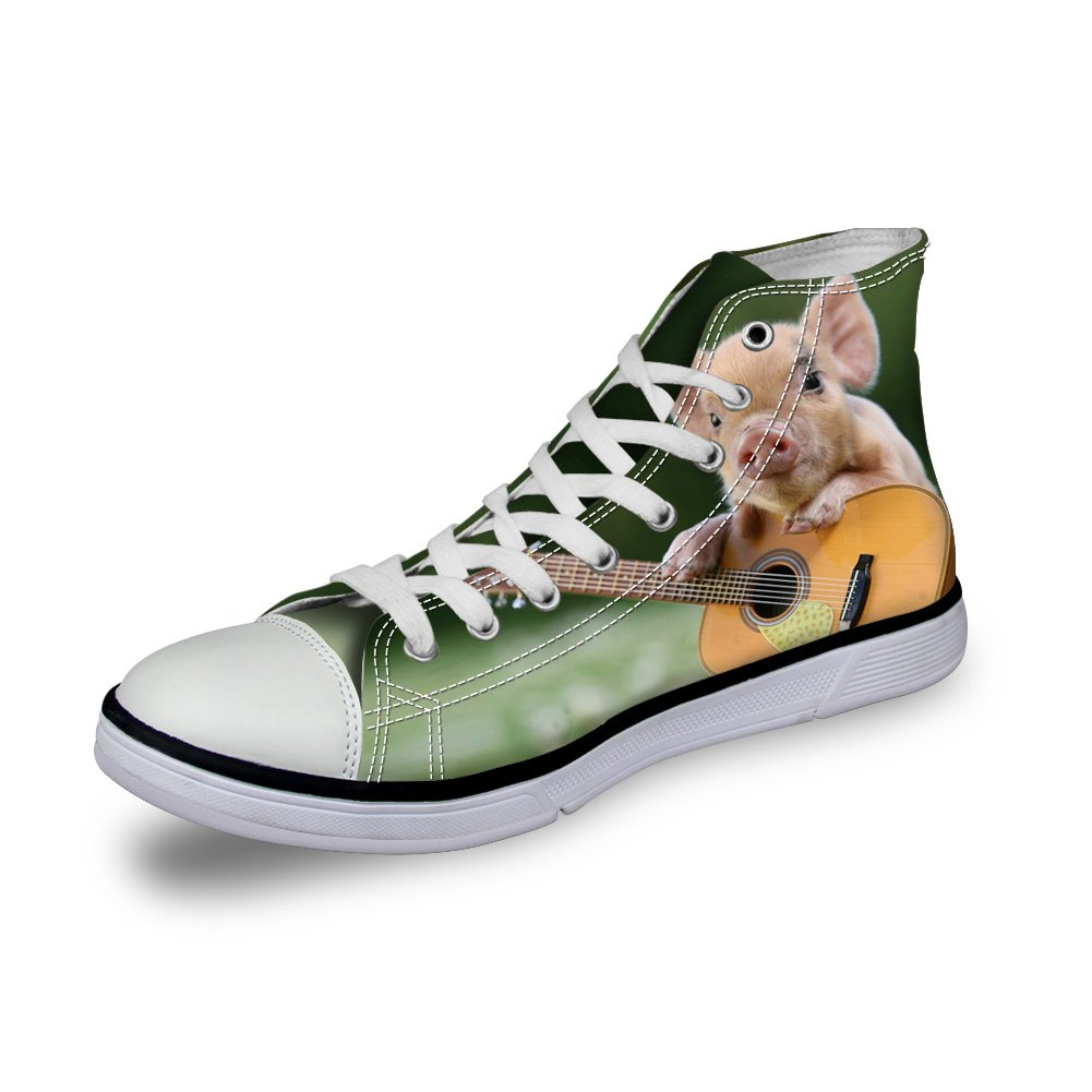 ArtistMixWay Unisex Cute Piggy Print High-Top Casual Sneakers Durable Canvas Uppers