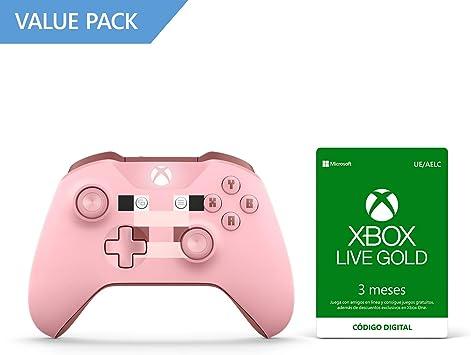Microsoft - Mando Inalámbrico: Edición Limitada Minecraft Pig (Xbox One) + Suscripción Xbox Live Gold - 3 Meses: Amazon.es: Videojuegos