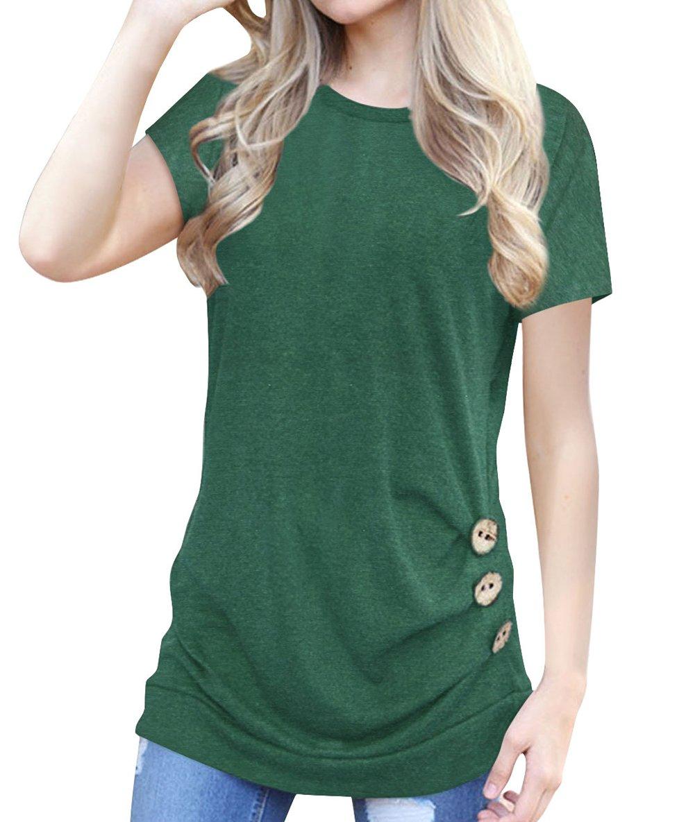 Women's Casual Short Sleeve Tunic Top Sweatshirt Blouse Button Decor T-Shirt Green L