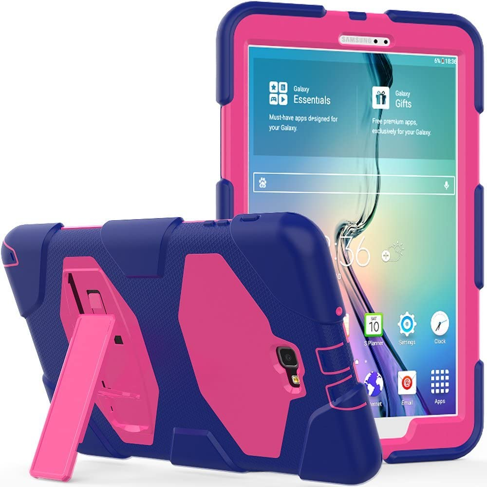 Galaxy Tab A 10.1 Case, Rugged Kickstand - Shockproof Heavy Duty Hybrid Three Layer Kids Child Proof Case Cover for Samsung Tab A 10.1 Inch (SM-T580/T585/T587)(NO S Pen Version) - Purple Pink