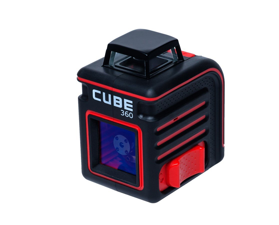 AdirPro Cube 360 Horizontal Cross Line Laser with Accessories, Red/Black